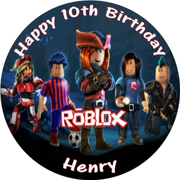 ROBLOX BLACK PERSONALISED ROUND EDIBLE BIRTHDAY CAKE TOPPER